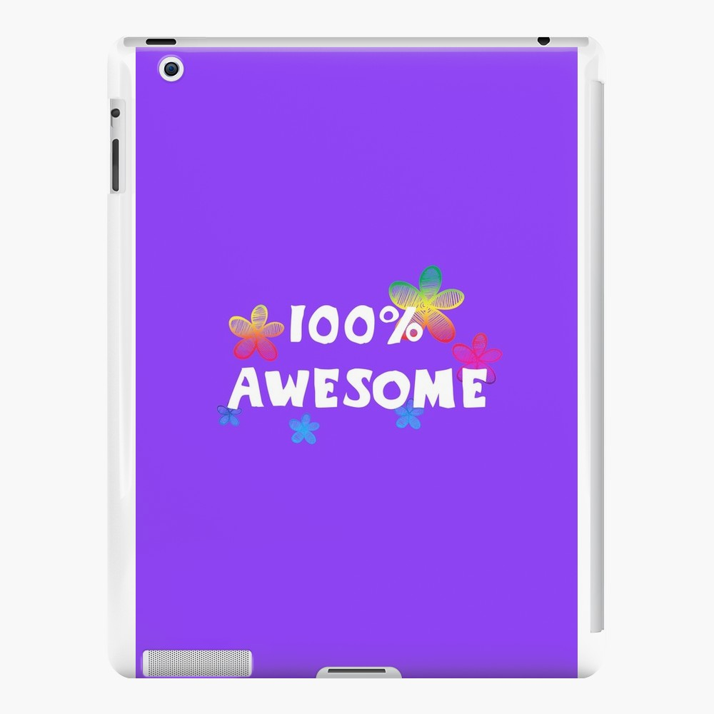 '100 awesome, text and cute colorful flowers' iPad Case