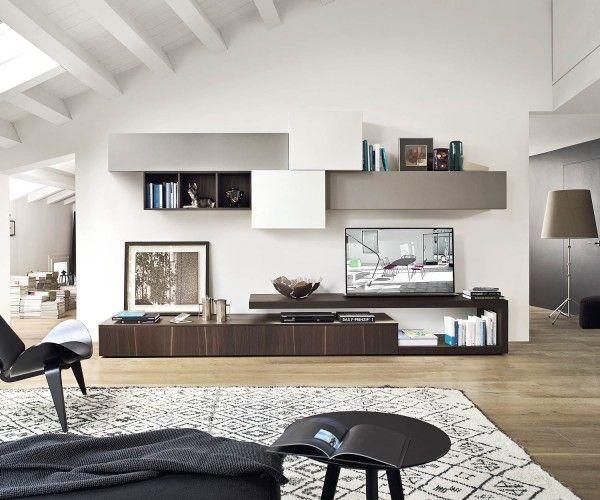 Wohnwand schwebend  Design Wohnwand mit schwebenden Tv Board und Hängeschränke ...