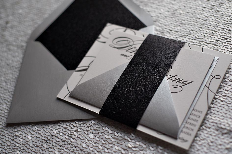 formal wedding invitation, letterpress wedding invitation, black tie ...