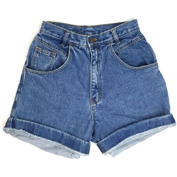 90s Blue Denim High Waisted Jean Shorts (52 BRL) ❤ liked on Polyvore featuring shorts, cuffed jean shorts, high rise shorts, high rise denim shorts, jean shorts and blue shorts