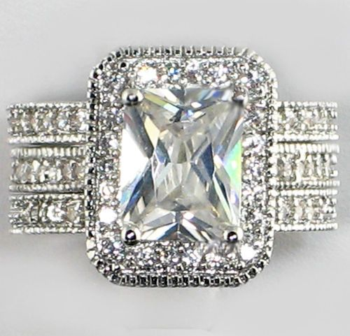 4 Ct Emerald Cut Eternity Band White Gold Ep Bridal Wedding 3 Pc