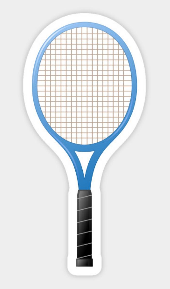 Blue Tennis Racket Sticker Sticker Featuring A Cartoon Illustration Of A Blue Tennis Racket Adesivos Stickers