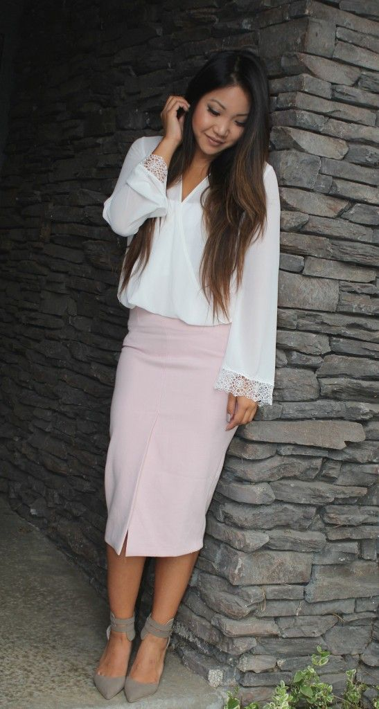 blush pink high waist pencil skirt from nordstrom paired with ...