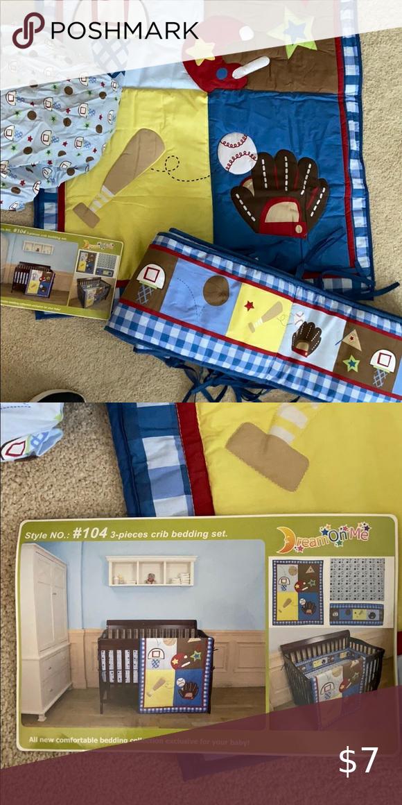 Dream On Me 3 Piece Crib Bedding Set Sports Theme In 2020 Crib Bedding Sets Crib Bedding Bedding Set