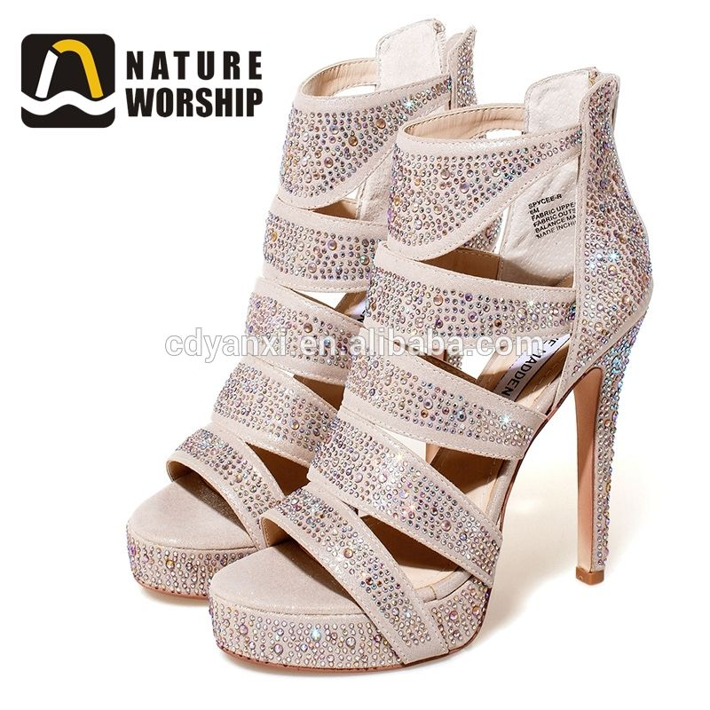 97b62af07 Fashion Girls Latest Design Custom Logo Fancy Slide High Heel Sandal Made  in China