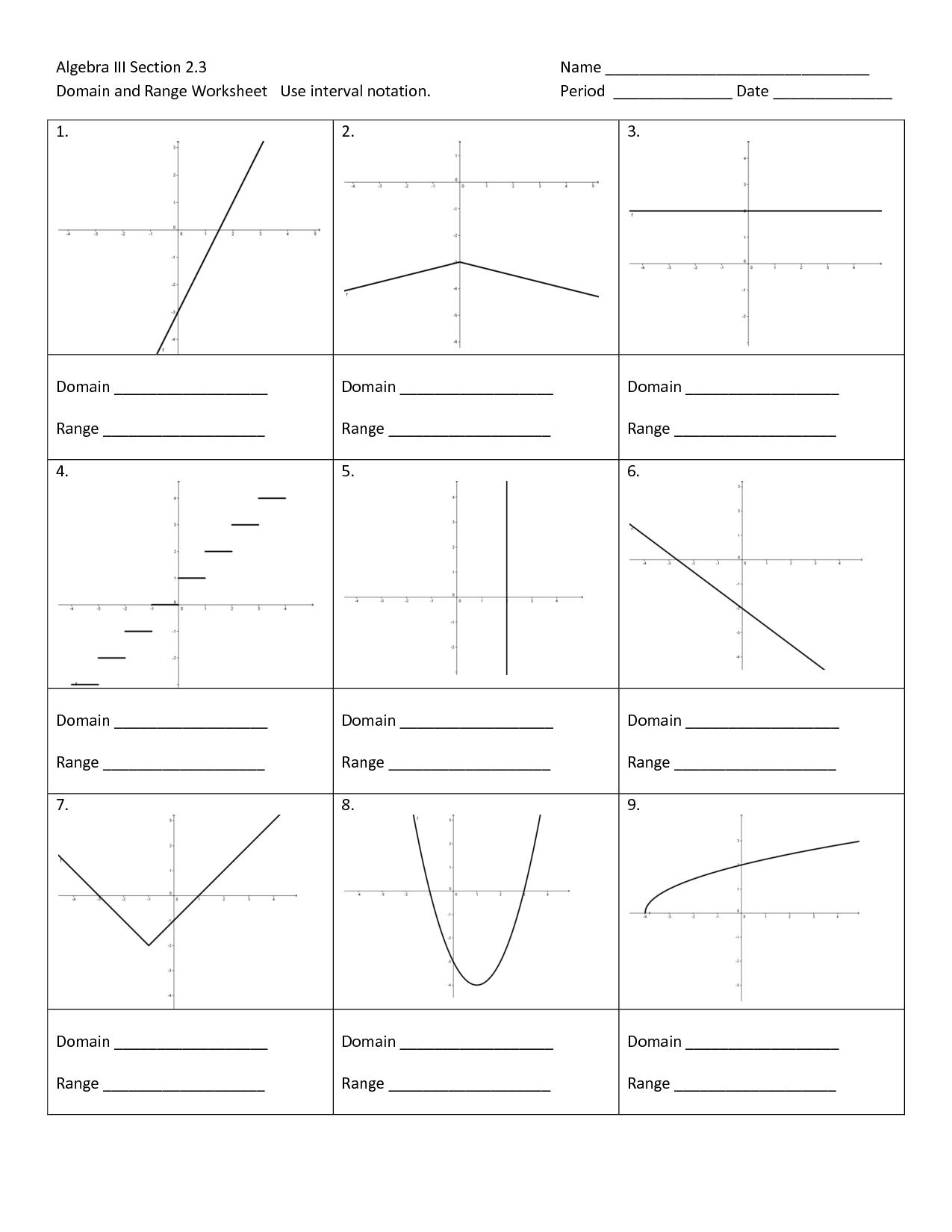 8 Best Images Of Domain Range Graph Worksheet Domain Range