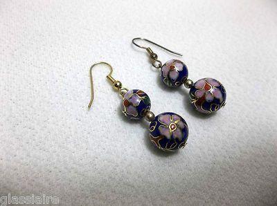 Antique Chinese Cloisonne Enamel Bead EARRINGS BLUE Beads