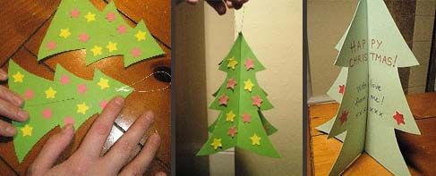 Image on left side shows  green Christmas tree shape being decorated with pink and yellow star; central image shows the card hanging by a loop; right hand image shows Christmas card with writing