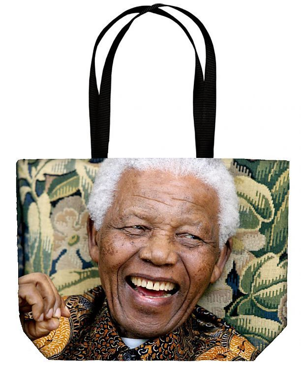 Canvas Tote Bag. Former South African President Nelson Mandela during his meeting with Conservative Party leader David Cameron at The Dorchester in central London. national, close up, close, african, politician, gesturing, smiles, closeup, congress, fpafpa, fpa08dy, gkdecade2000large, gestures, brochure09, review2008, showreelpbf10, portfolioedit2, portfolioedit3, obits2013, dbest08service, 2008newsreview, mandela, decade2008, brochure09edit, showreelpbf10news, nelsonmandelapa, nelsonmandelacoll