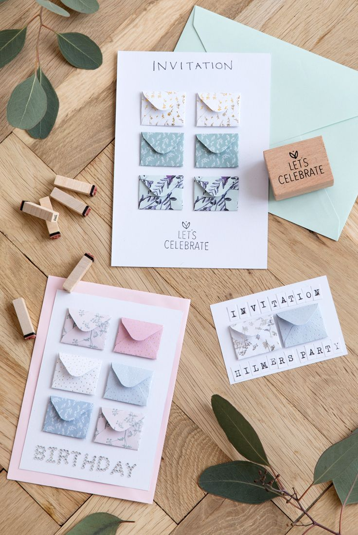 diy how to make homemade party invitations from mini envelopes and