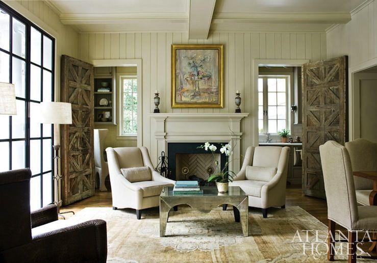 Atlanta Homes & Lifestyles Beth Ervin - Chic living room design with  herringbone firebox fireplace which · Antique DoorsOld ... - Atlanta Homes & Lifestyles Beth Ervin - Chic Living Room Design With