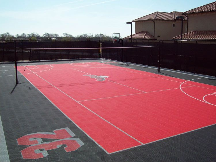 Home Basketball Court In Atlanta By Snapsports Outdoor Basketball Court Outdoor Sports Court Home Basketball Court
