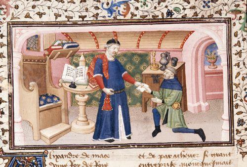 A scholar's study, c. 1420. Aristotle sends a letter to Alexander. Historia de proelis, French trans. (Le Livre et le vraye hystoire du bon roy Alixandre), c. 1420 (Paris). BL MS Royal 20 B XX, fol. 85v. British Library, London