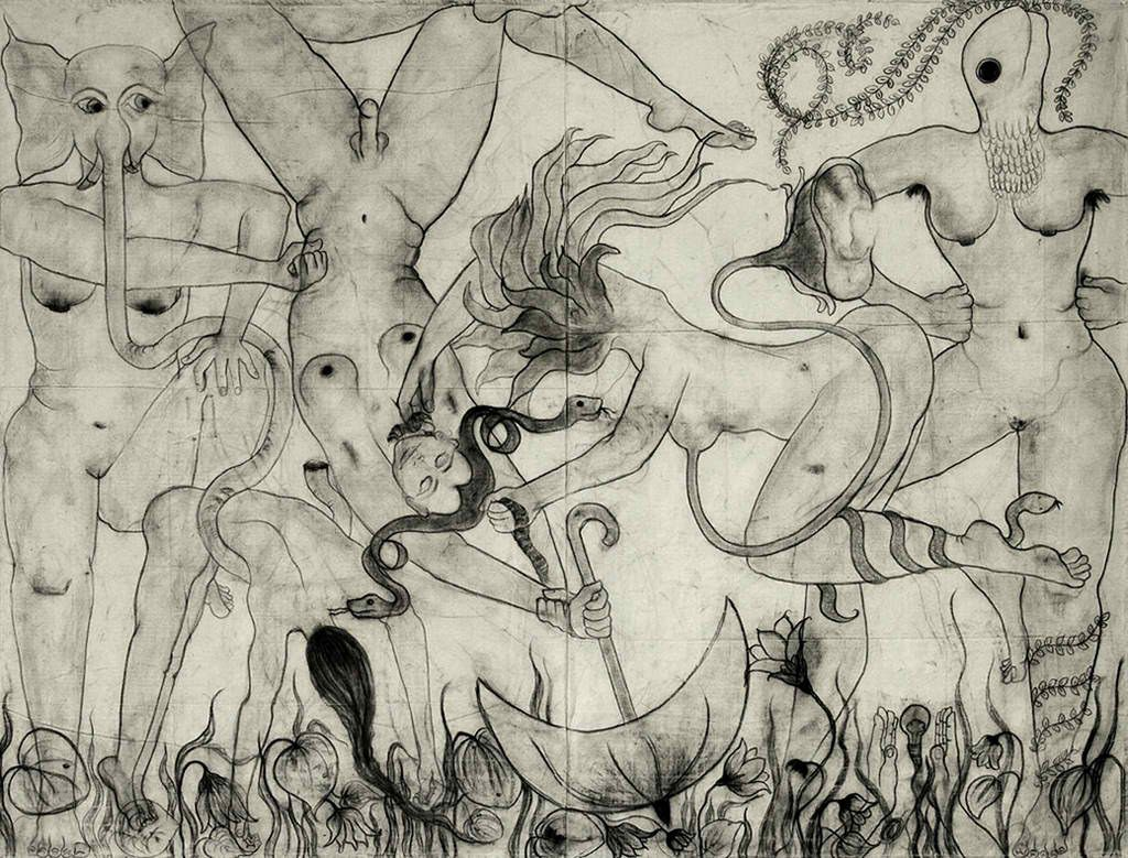 'A Fantastic Collision of the Three Worlds' #II 2009, Amita Bhatt. Charcoal on canvas.