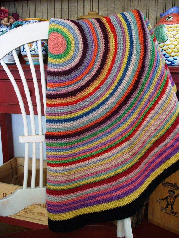 Antique Farmhouse Folk Americana Circular Rug French Knitting