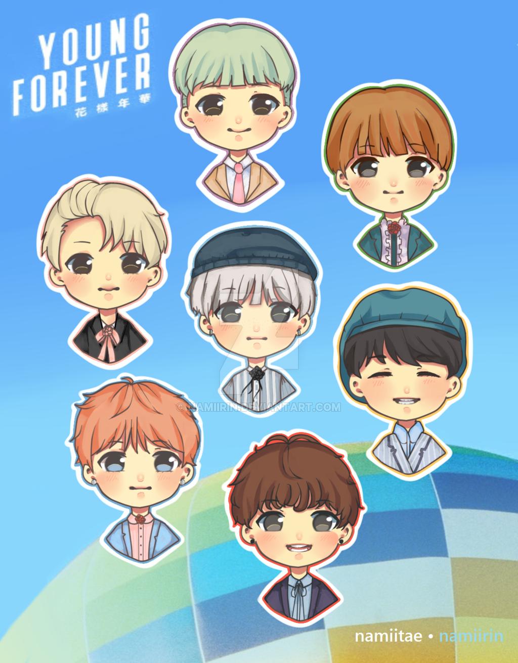 Картинки по запросу stickers anime Bts chibi, Chibi