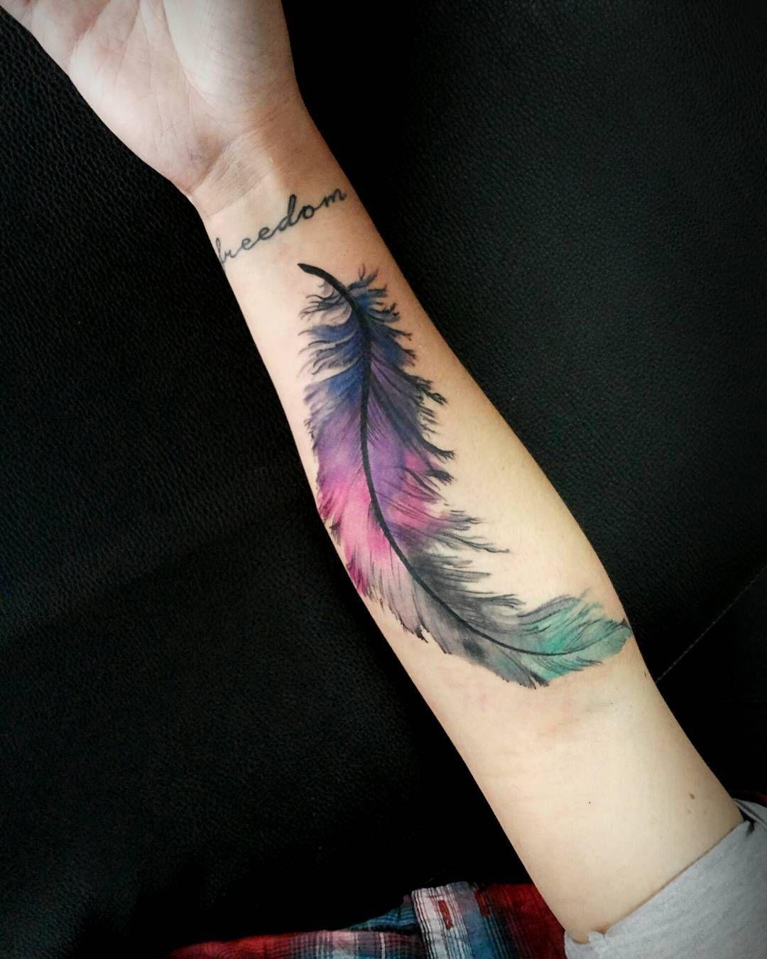 Pluma De Colores Tattoos Pinterest Tattoos Feather Tattoos