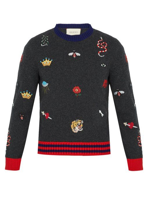 049480e15 Gucci Embroidered wool-knit sweater Mens Knit Sweater, Cable Knit Sweaters,  Cute Sweaters