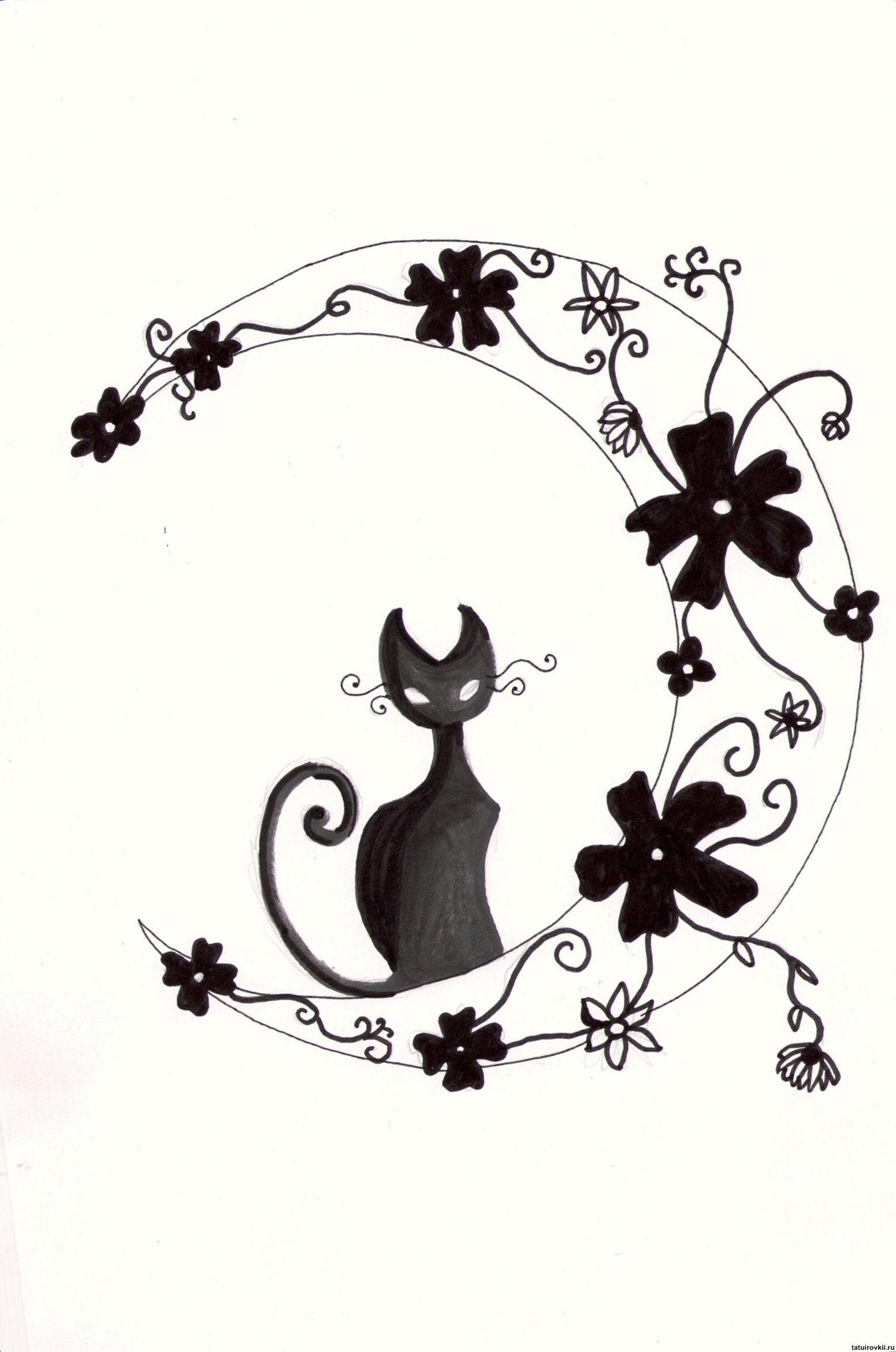 Tribal Cat Tattoo Designs pin cute cat tattoos moon eyes