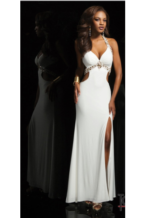 White Sweetheart halter floor length beads Prom Dress