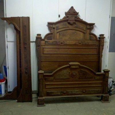 wild west primitive furniture | Antique Wooden Bed Frame. Head, foot ...