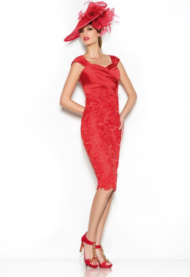 Knee length red lace mother of the bride dress from Frocks | Mother ...