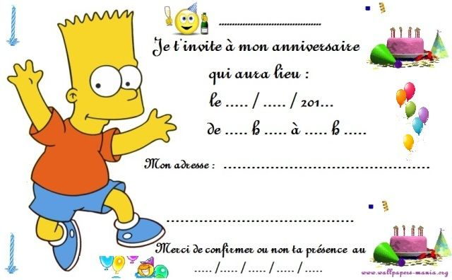 Souvent carte invitation anniversaire barth simpson | anniversaire | Pinterest SK56