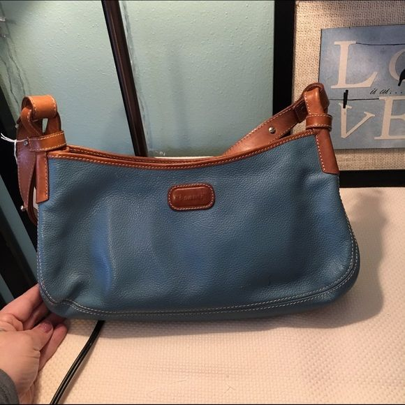 Beautiful Italian Made Leather I Santi Handbag And Clean Purse In A Pretty Blue Brown Colors