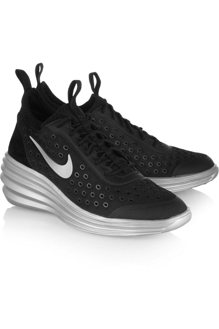 innovative design 08959 4537a Nike   LunarElite Sky Hi canvas and suede wedge sneakers   NET-A-PORTER.COM