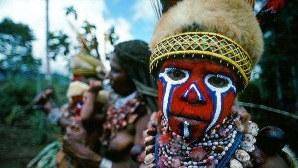 The Western Highlands of Papua New Guinea where the men wear makeup    Photograph by Peter Guttman