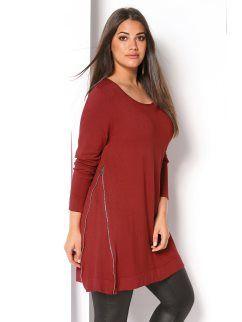 Jersey largo de mujer con cremalleras tallas grandes