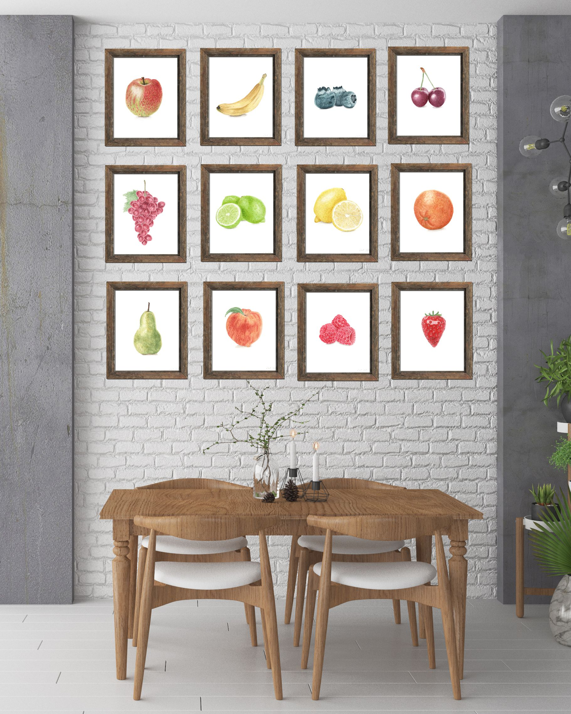 b20b513e882 Watercolor fruit collection