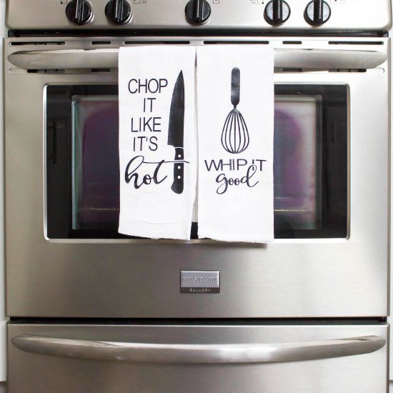 Fun and punny do it yourself kitchen towels easy to make and a fun and punny do it yourself kitchen towels easy to make and a great conversation solutioingenieria Choice Image