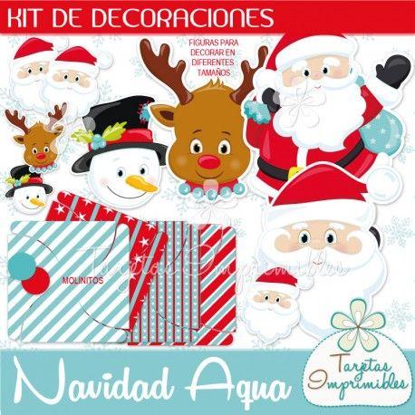 Navidad Aqua Kit de decoraciones | Tarjetas imprimibles, Etiquetas ...