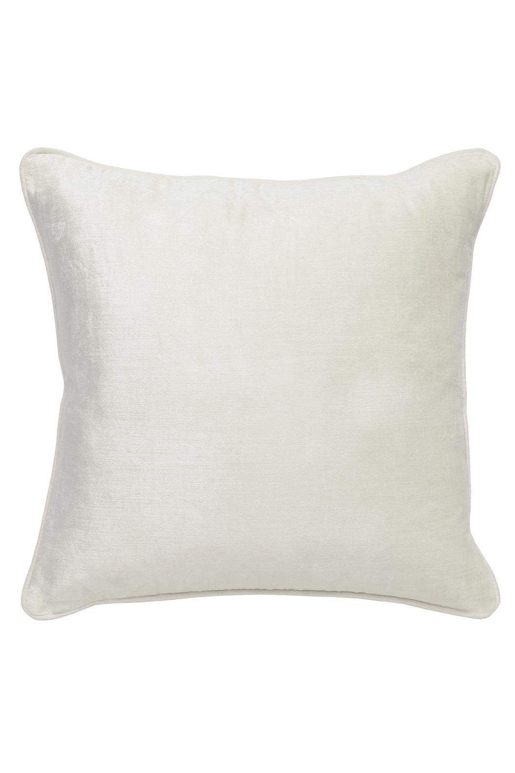 """Influenced by classical Victorian era design, the Adore collection will unveil a world of timeless romance. Rich embellishments with ethereal designs and soft textures allow these pillows to transition effortlessly between seasons.    Dimensions:22"""" x 22""""   Audrey Ivory Pillow by Villa Home Collection. Home & Gifts - Home Decor - Pillows & Throws Georgia"""