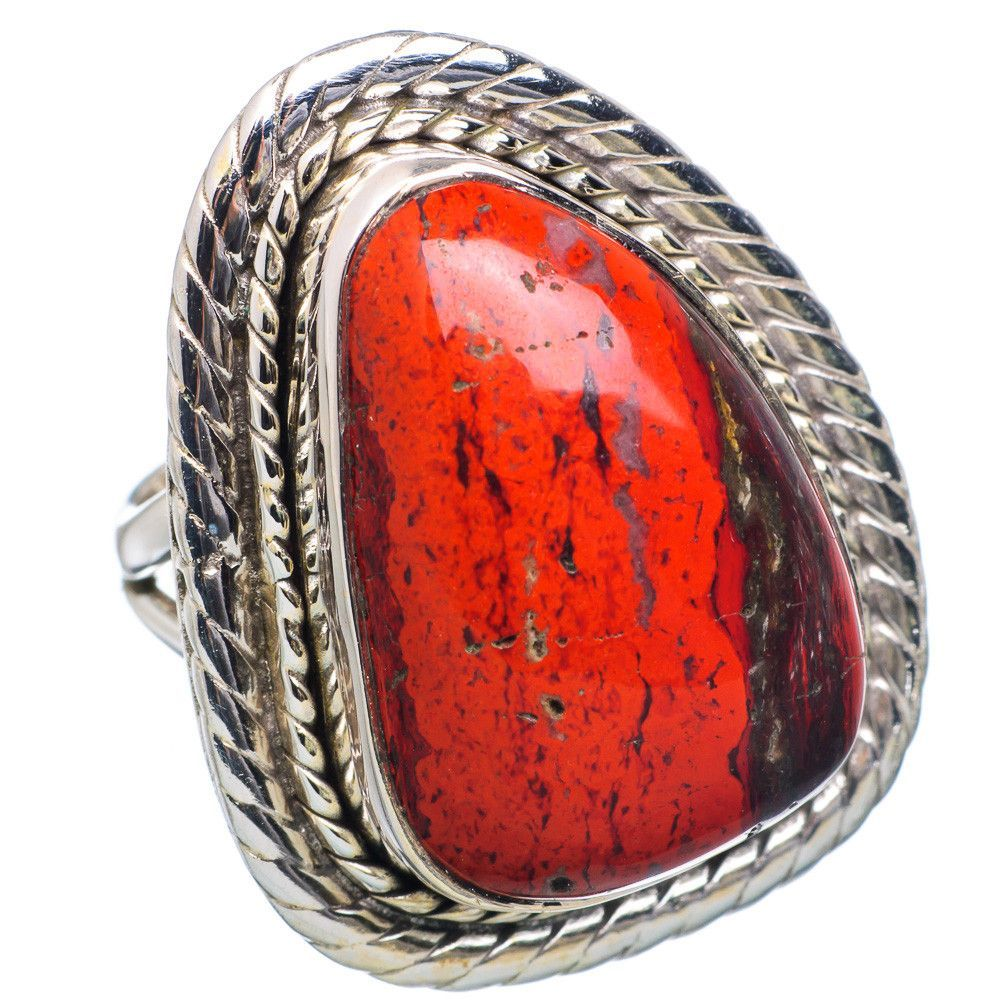 Red Jasper 925 Sterling Silver Ring Size 6.25 RING694323