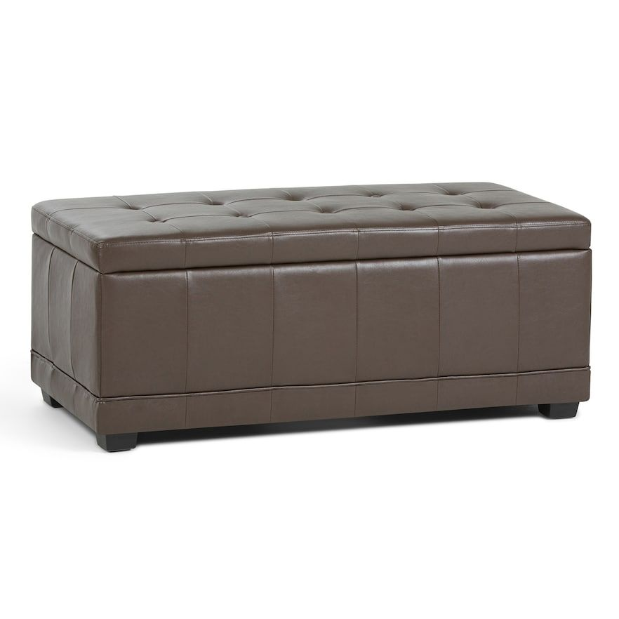 Amazing Simpli Home Westchester Faux Leather Storage Ottoman Alphanode Cool Chair Designs And Ideas Alphanodeonline