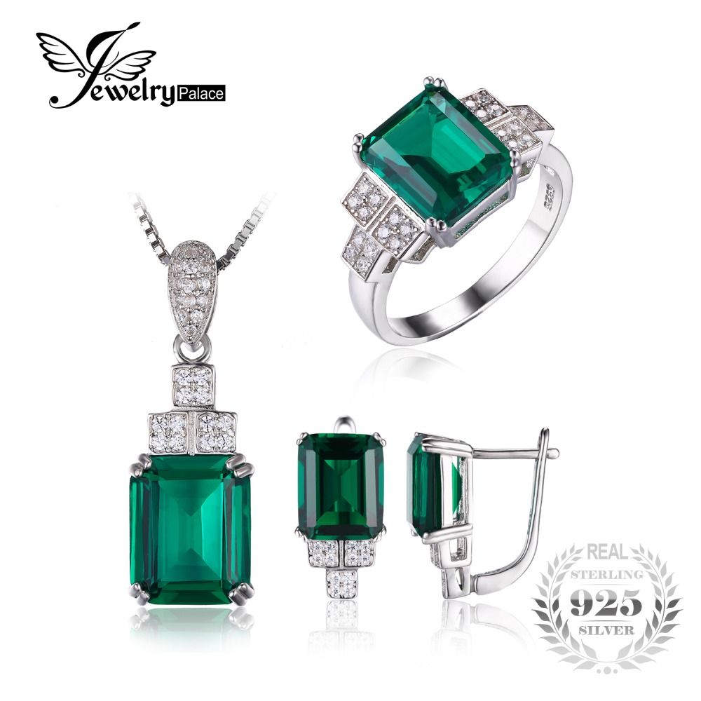 Click to buy ucuc jewelrypalace created emerald jewelry set