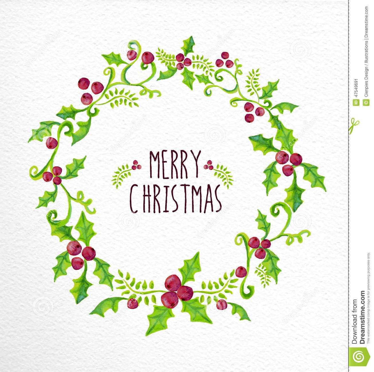 Merry Christmas Watercolor Holly Berry Wreath Card - Download From ...