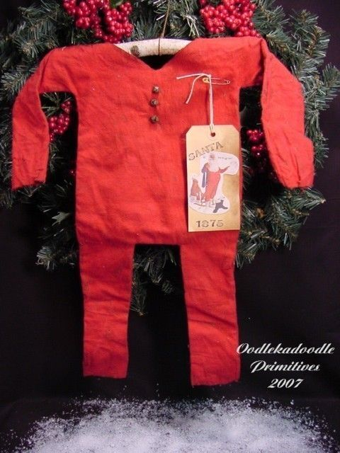 Primitive Santa's Red Union Suit, Hanger and Tag Instant Digital Download E-Pattern ET