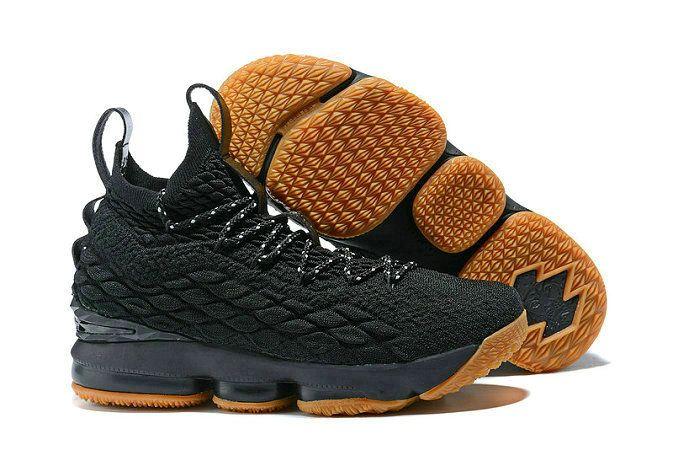buy popular 1c5ea 1dd80 2018 Nike LeBron James 15 XV Basketball Shoes Black Gum 897648-300