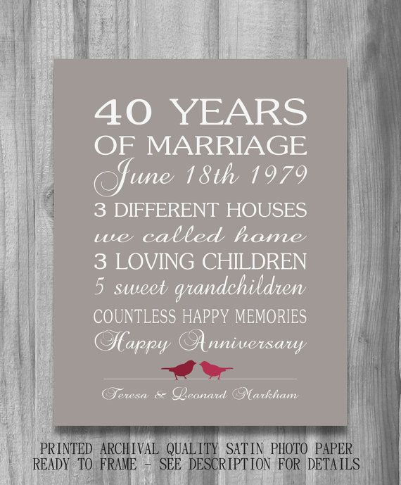 40th Wedding Anniversary Gift.4oth Wedding Anniversary Gift Ruby Personalized Birds Custom Love