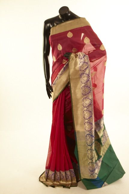 Banarsi- kora cotton strawberry pink saree with blouse