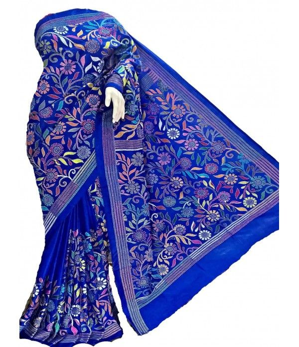Blue Kantha Work Silk Stitch Saree Kantha Sarees Pinterest Saree, Silk and Silk sarees