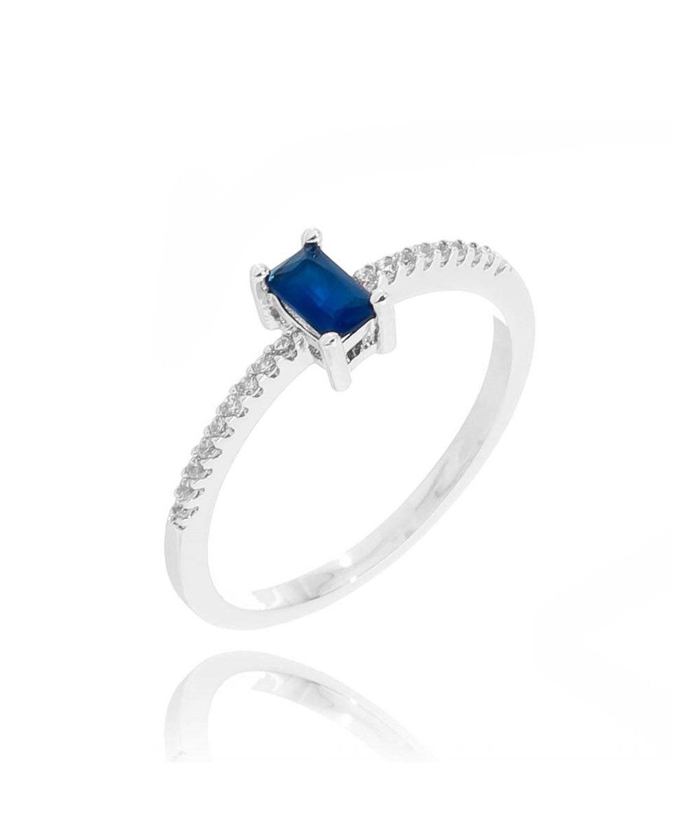 Anel Delicadinho De Pedra Azul Safira E Zirconias Brancas Prata