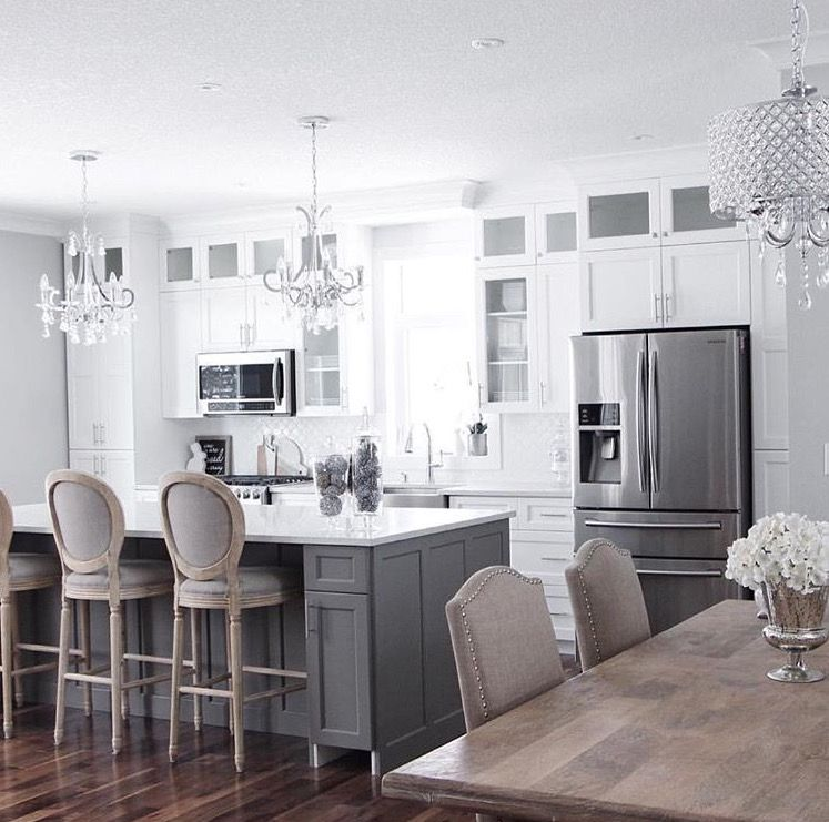 Cabinets to ceiling, gray island. Overall like. Something ...