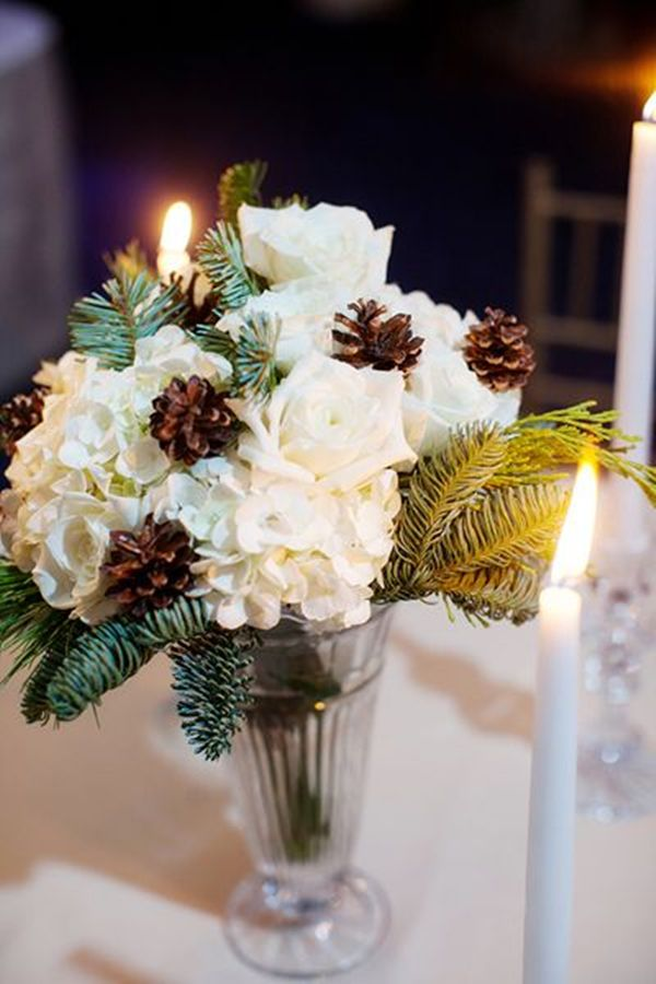 Top 20 winter wedding ideas with pines winter wedding winter wedding centerpieces ideas with pinecones junglespirit Image collections