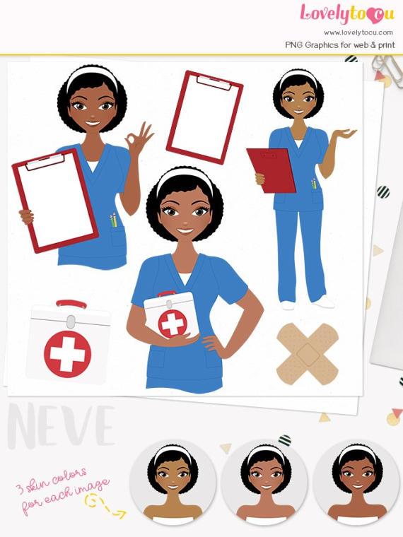 Woman Nurse Character Clipart Healthcare Illustration