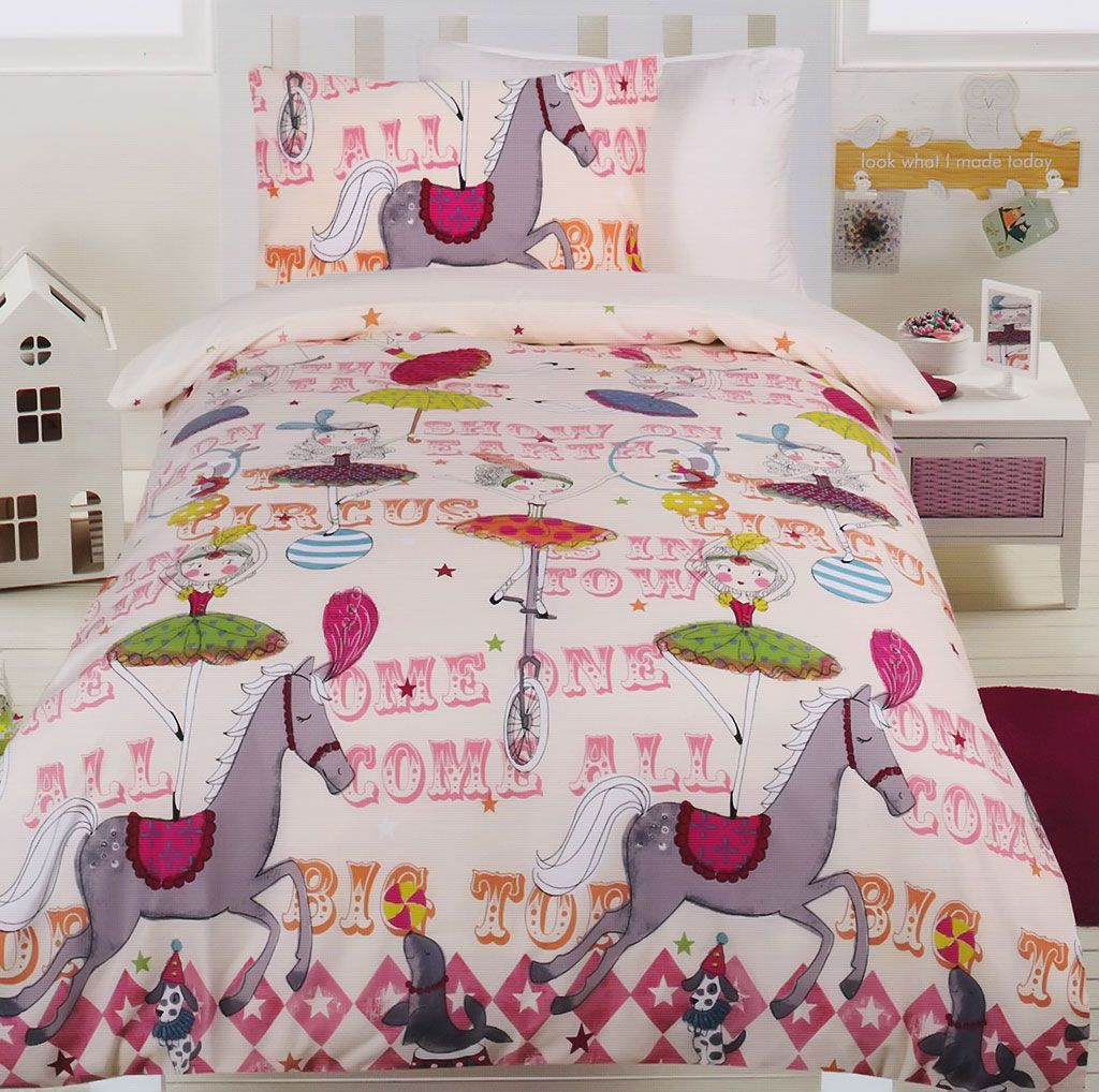 Home 187 unicorn quilt cover set return to previous page - Circus Girls Glow In The Dark Quilt Cover Set From Kids Bedding Dreams Horse