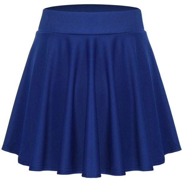 ACEVOG Women's Stretch Waist Flared Skater Skirt Dress Mini Skirt ($11) ❤ liked on Polyvore featuring skirts, mini skirts, blue skater skirt, blue mini skirt, circle skirt, short blue skirt and flare skirt